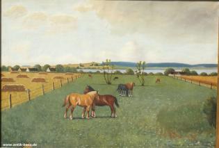 ALBERT PETERSEN (1875-1950)-PFERDE AUF DER SOMMERWEIDE-ÖL AUF LEINWAND