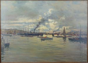 GEORG BURMESTER (1864-1936)-HAFENSZENE UM 1888-ÖL/PLATTE SIG.
