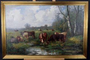 EDUARD GÖTZELMANN/ EDUARD GOETZELMANN1830-1903(AUSTRIA-WIEN)-AN DER TRÄNKE-ÖL/LEI-SIGNIERT