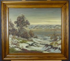 HEINRICH PETERSEN(SCHLESWIG 1881-1958 KIEL)-WINTER-ÖL/PLATTE-SIGNIERT