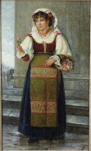 KAREL FRANS PHILIPPEAU (1825-1897)-DAS BLUMENMÄDCHEN-ÖL/HOLZ SIGNIERT