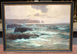 ALEXANDER KIRCHER(1867-1939)-KÜSTENLANDSCHAFT DER LOFOTEN-OIL PAINTING