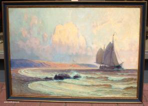 ALEXANDER KIRCHER(1867-1939)-SEGLER VOR DEN LOFOTEN-OIL PAINTING