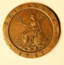 Britische Münzen George III (1760-1820), zwei Pence, 1797