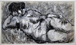 Charlotte (Murkel) Schuberth (1914-2000)-LIEGENDER AKT-/ÖL/LEIN.
