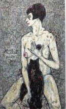 Charlotte (Murkel) Schuberth (1914-2000)-AKT MIT KATZE-BLANCHE DE BLANCHE PARIS 1967/ÖL/LEIN.