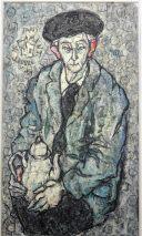 Charlotte (Murkel) Schuberth (1914-2000)-MONSIEUR FLAMENT,LOUVRE PARIS,SALLE IV-1959/ÖL/LEINW.