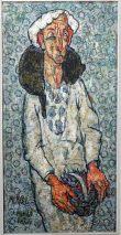 Charlotte (Murkel) Schuberth (1914-2000)-FRAU MIT KATZE-ÖL/LEINW./PARIS 1964/65