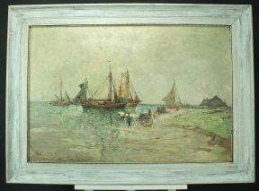 RUDOLF PRIEBE (1889 - 1964) -ANLANDENDE BOOTE -ÖL AUF LEINWAND