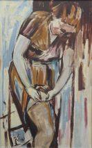 RUDOLF BEHREND (1895-1979)-FRAU BEIM ANKLEIDEN-ÖL AUF HARTFASER SIGNIERT,DATIERT 1961