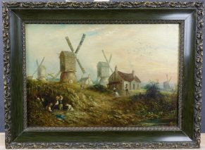 THOMAS COOPER MOORE(1827-1901)-HIILS & MILLS OLD NOTTINGHAM FOREST-OIL PAINTING