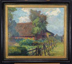MAX WERNER(1878-1952)-REET GEDECKTE HOFANLAGE-ÖL AUF PLATTE-SIGNIERT