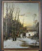 ANTON WINDMAIER(1840-1896)-JÄGER IM WINTERLICHEN WALD-ÖL/LEINWAND,SIGNIERT