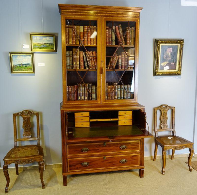 antiquit ten und kunstgegenst nde mahogany secretaire bookcase mahagoni. Black Bedroom Furniture Sets. Home Design Ideas